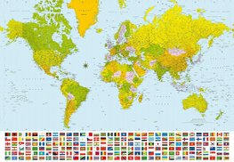 Wereldkaart fotobehang XL vlaggen