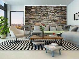 Stenen muur met grijstint posterbehang M