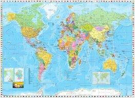 Wereldkaart fotobehang met vlaggenrand