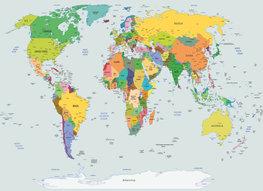 Wereldkaart vliesbehang L