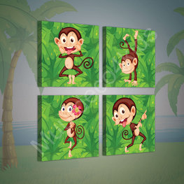 Jungle canvasdoek 4-delige set Aapjes