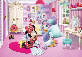 Minnie Mouse en Katrien vlies fotobehang XXXL