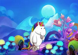 Eenhoorn fotobehang Blue Moon