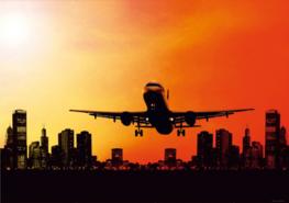 Vliegtuig fotobehang City
