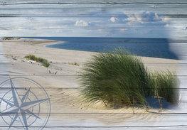 Fotobehang Strand op hout