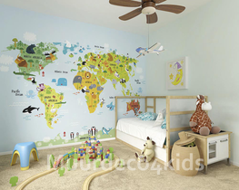 Wereldkaart vliesbehang met dieren