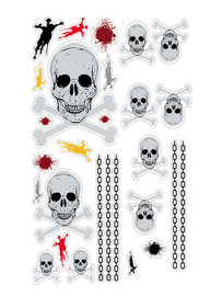 Piraten muurstickers Skull GID