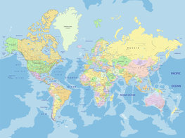 Wereldkaart behang XL staatkundig