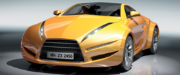 Gele Sportauto poster behang