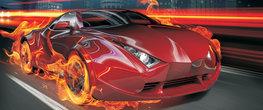 Vlammende rode auto poster
