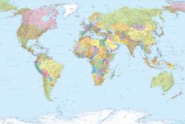 Wereldkaart fotobehang Komar