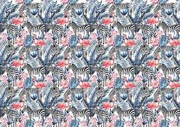 Zebra en Flamingo fotobehang