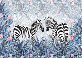 Zebra jungle fotobehang