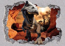 Dinosaurus in grot 3D fotobehang L