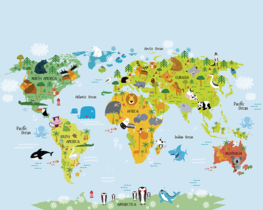 Wereldkaart vliesbehang met dieren XL