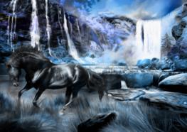 Fotobehang Paard bij de waterval - Blauw