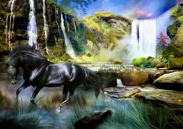 Fotobehang Paard bij de waterval
