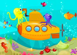 Onderwater behang Duikboot