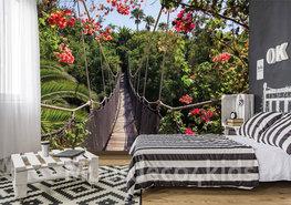 Jungle fotobehang Touwbrug