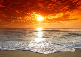Strand fotobehang Zonsondergang