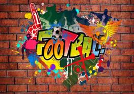 Graffiti behang Voetbal fan