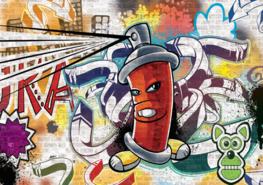 Graffiti behang Rood