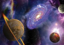 Planeten en Sterren vlies fotobehang XL