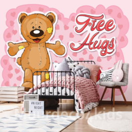 Teddy beer behang Free Hugs