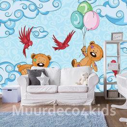 Teddyberen behang met vogels
