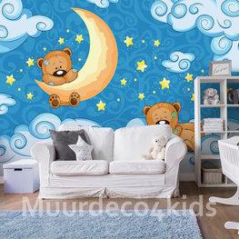 Teddyberen behang Maan en Sterren