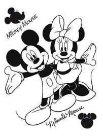 Mickey en Minnie muursticker Zwart Flock XL