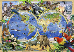 Wereldkaart behang Beestenboel