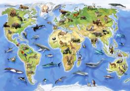 Wereldkaart fotobehang Dieren