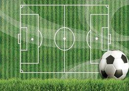 Voetbal vlies fotobehang Gras
