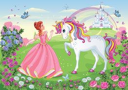 Prinses en Eenhoorn fotobehang