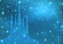 Prinsessen Kasteel behang Sterren Blauw