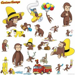 Aapje muurstickers Curious George