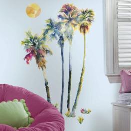 Palmbomen muurstickers Aquarel