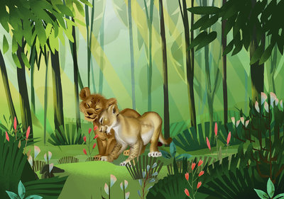 Lion King Love fotobehang