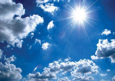 Zon en Wolken fotobehang | Muurdeco4kids