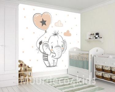 Babykamer behang Olifant met Ballon XL