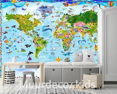 Wereldkaart fotobehang kind