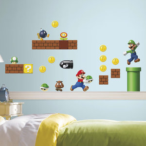 Mario Bros Muurstickers.Super Mario Bros Set Muursticker Roommates 22 50