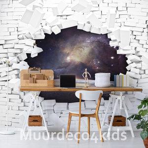 3D Muur vlies behang Space
