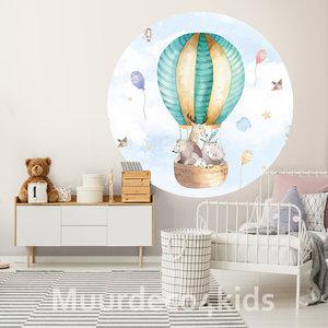 Behangcirkel Luchtballon met dieren