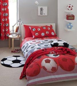 Voetbal kant-en-klaar gordijnen rood