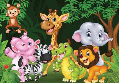 Dieren Behang Kinderkamer : Kinderkamer behang dieren in het oerwoud