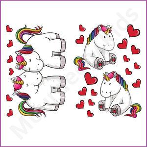Unicorn muurstickers Hartjes