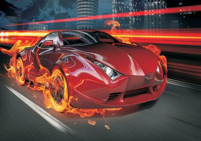 vlammende rode auto fotobehang