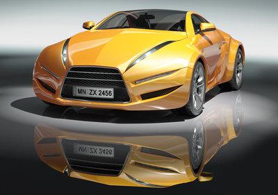 Gele Sportauto fotobehang